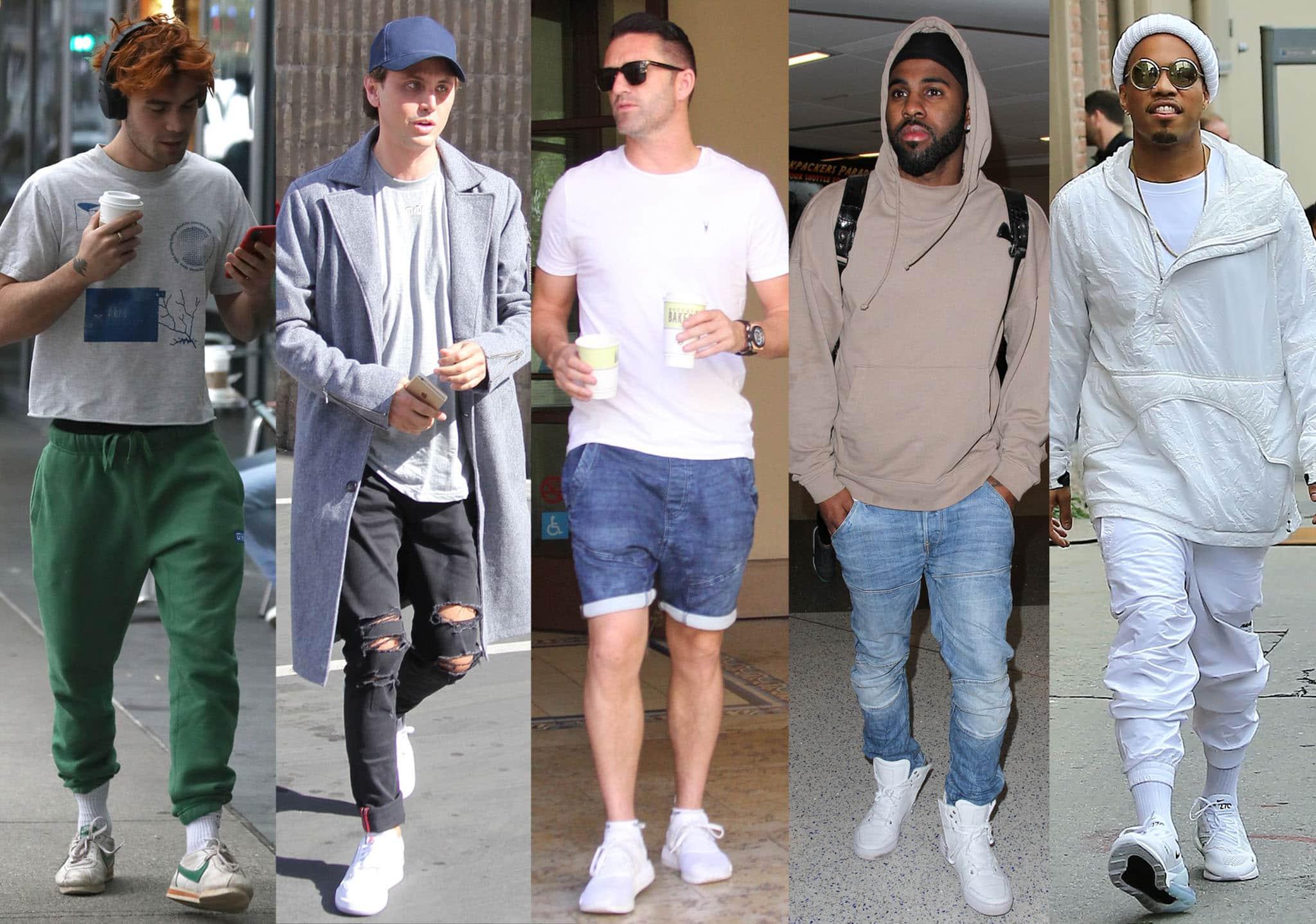 KJ Apa, Jonathan Cheban, Robbie Keane, Jason Derulo, and Anderson Paak wearing white sneakers