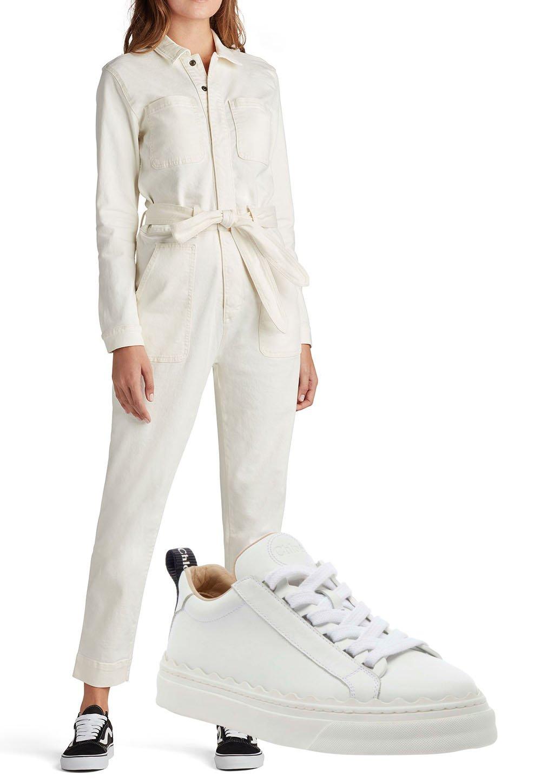 Joe's Jeans Sarah Denim Jumpsuit, Chloe Lauren Low-Top Leather Sneakers