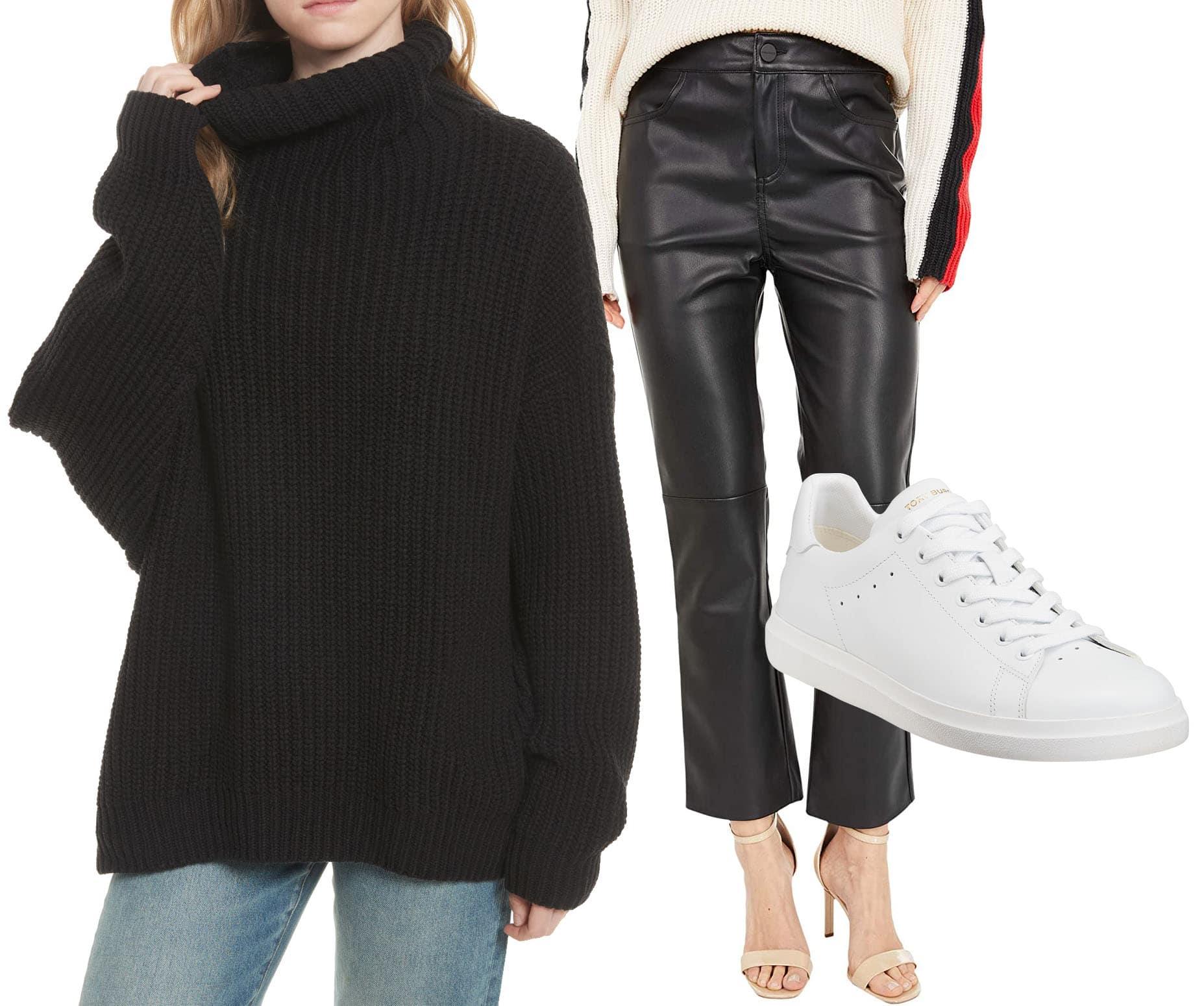 Free People Swim Too Deep Turtleneck Sweater, Sanctuary Leather Like Kick Crop Pants, Tory Burch Howell T-Saddle Court Sneakers