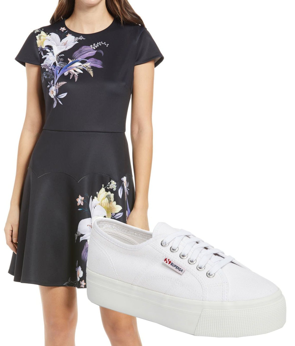Ted Baker London Decadence Skater Dress, Superga Acot Linea Platform Sneakers