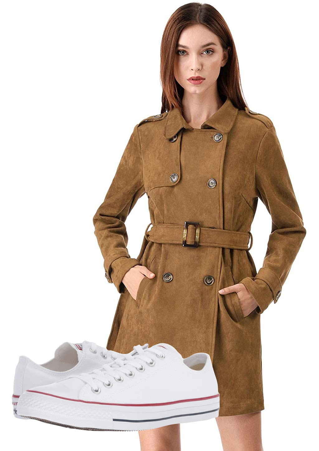 Allegra K Women's Notched Lapel Double Breasted Faux Suede Trench Coat, Converse Chuck Taylor All Star Core Ox Sneakers