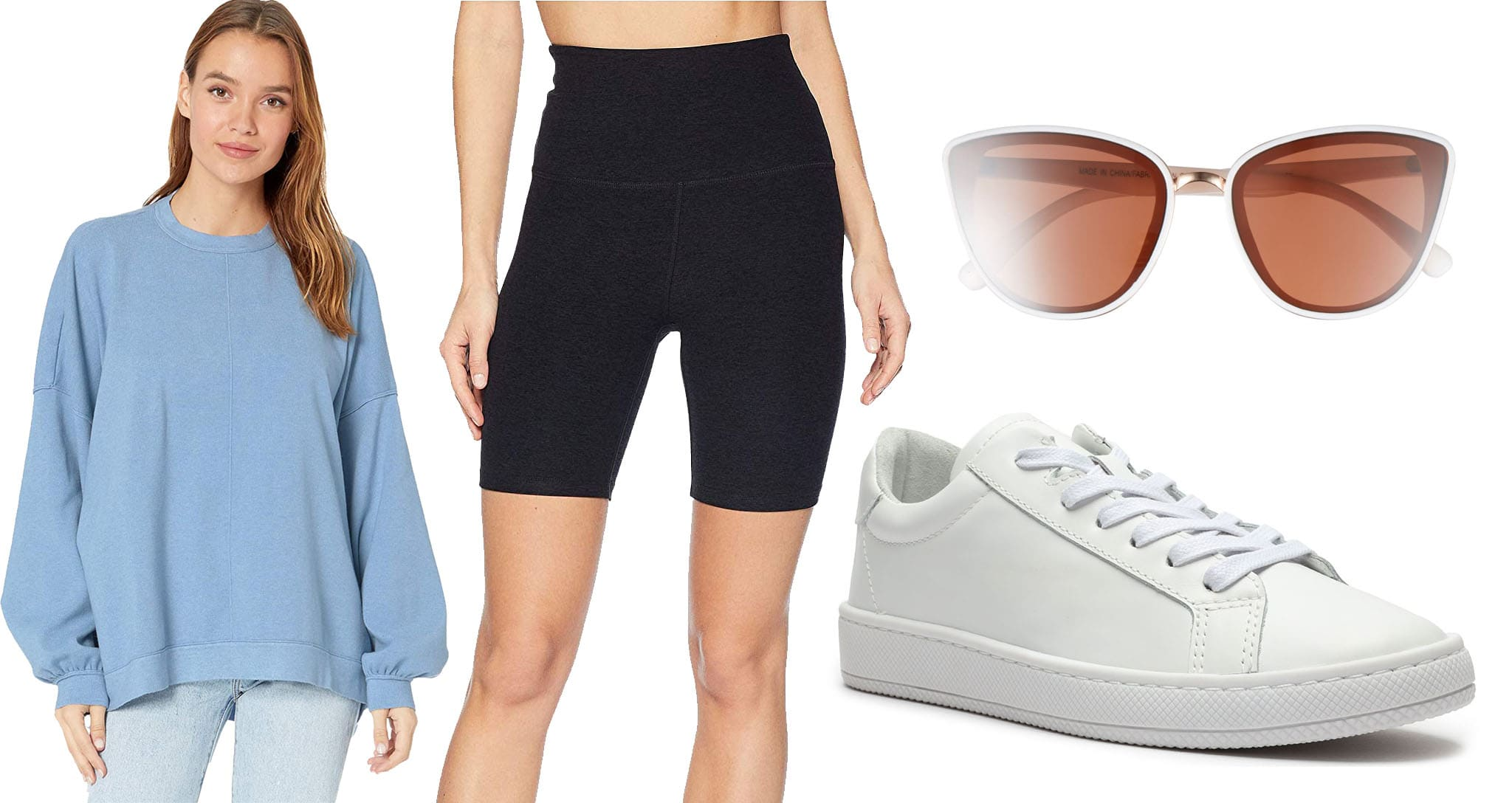 wear white sneakers with Free People sweater and Beyond Yoga biker shorts