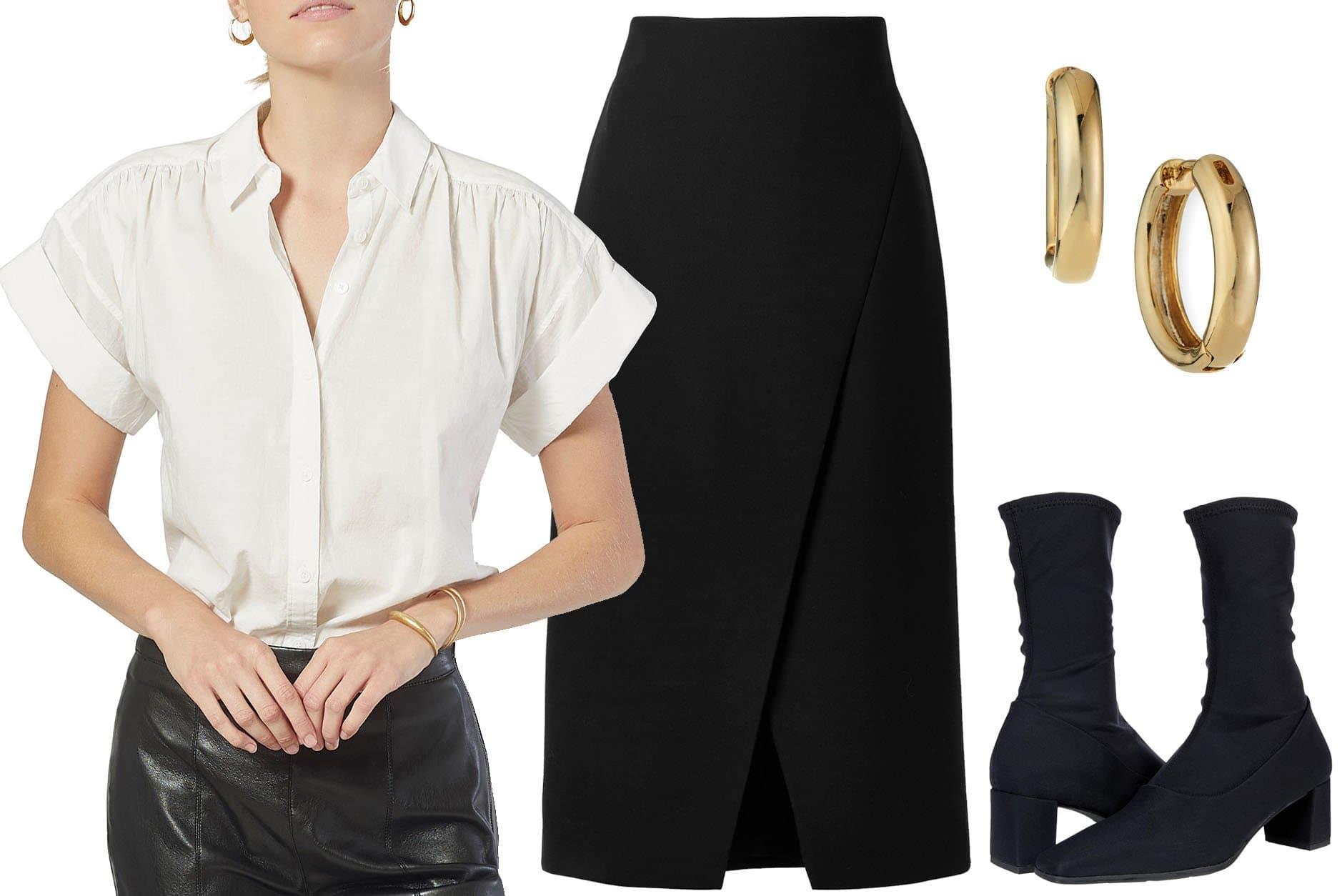 Joie Naro Cotton Poplin Button-Down Shirt, Theory Wrap-effect Woven Midi Skirt, Tai Huggie Hoop Earrings, Vagabond Shoemakers Tessa Sock Boots