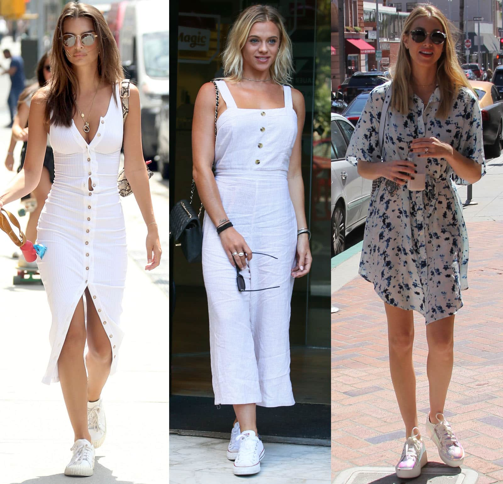 Emily Ratajkowski, Laura Crane, and Whitney Port wear summer-chic outfits with white sneakers