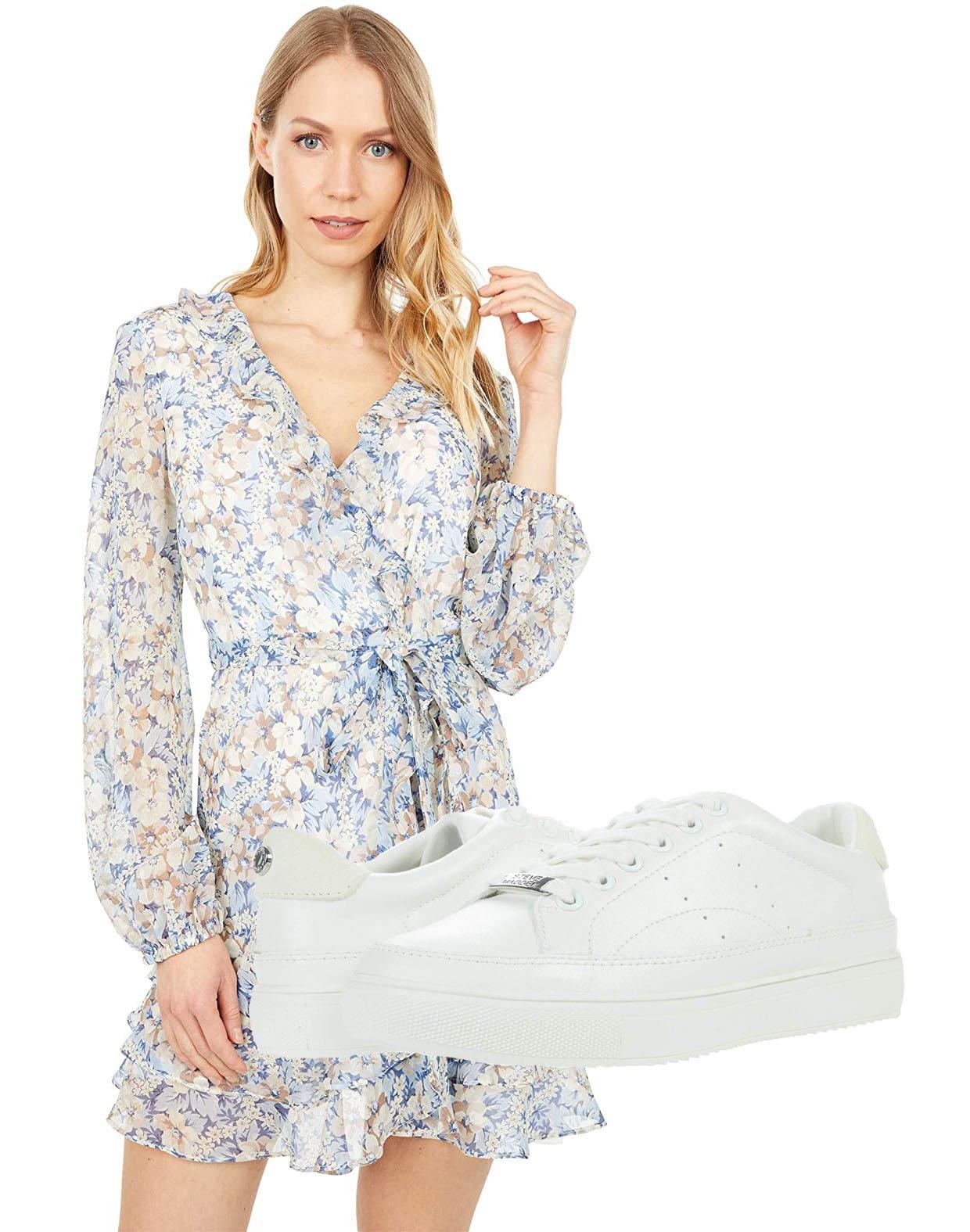 Bardot Triple Frill Floral Dress, Steve Madden Bleachers Sneakers