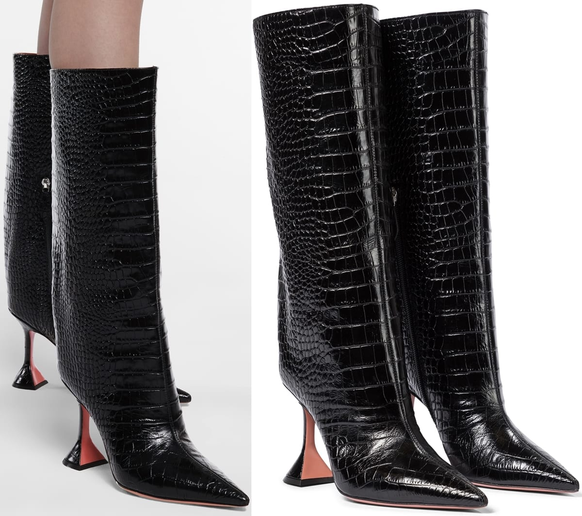 These black croc-effect leather Amina Muaddi knee-high boots are replete with some of the label's most defining features