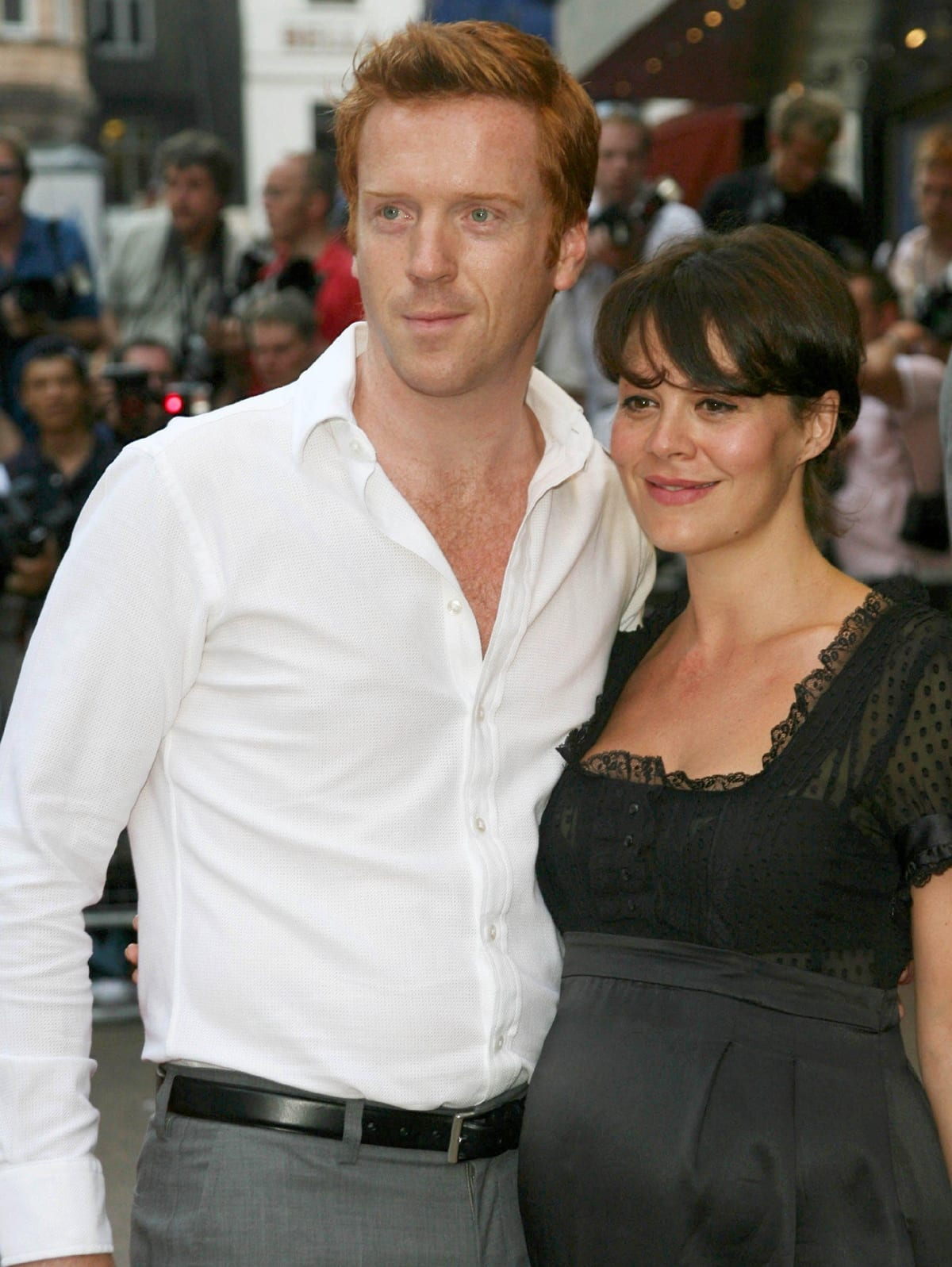 Actor Damian Lewis and his pregnant girlfriend Helen McCrory