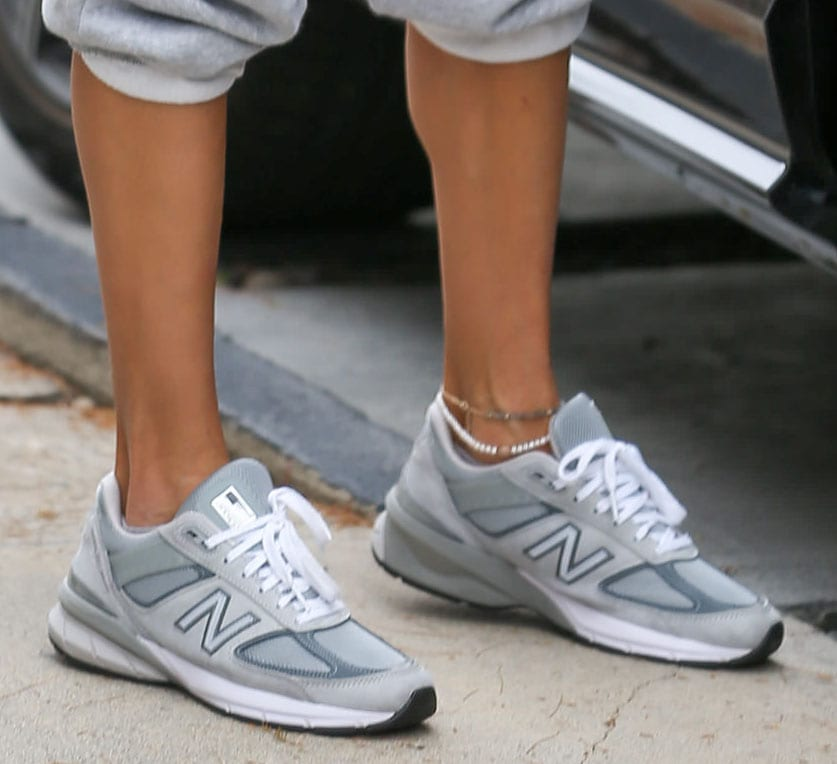 Alessandra Ambrosio completes her sporty-chic look with New Balance Made in US 990v5 running shoes