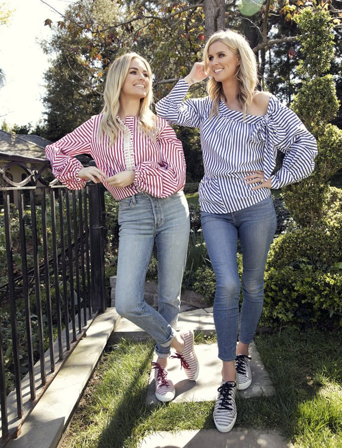 Amanda Hearst and Nicky Hilton twin in striped top, jeans, and striped shoes from Nicky's new French Sole collection