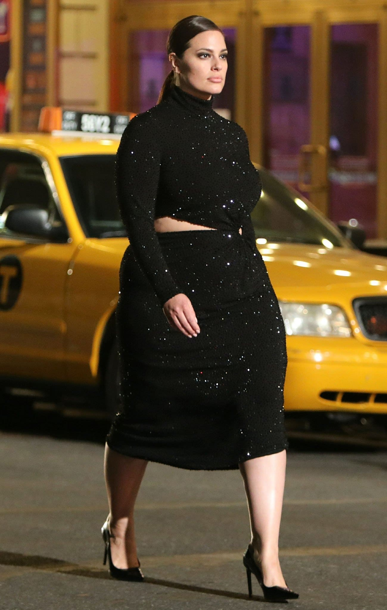 Ashley Graham wows in a crystal-embellished black dress with cutout waist