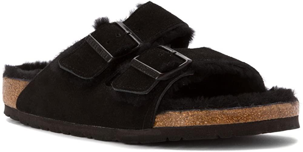 Classic Birkenstock Arizona sandals updated with tonal fur trims