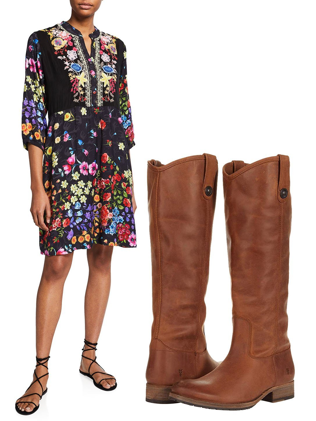 Johnny Was Ciara Floral-Print with Slip and Frye Melissa Button Lug Boots