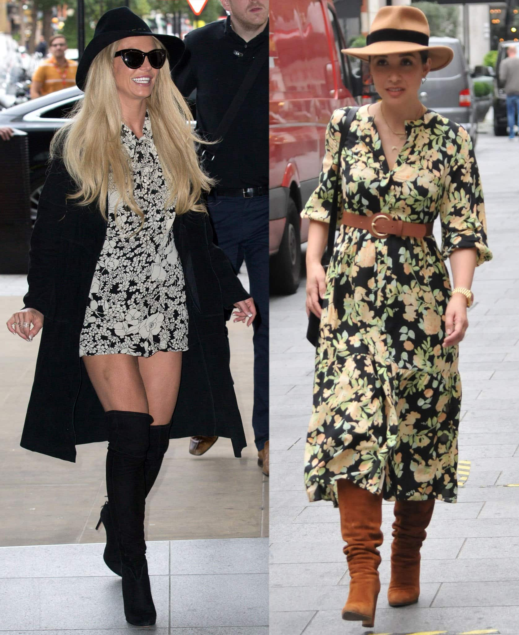 Britney Spears and Myleene Klass go bohemian chic in floral dresses and knee-high boots