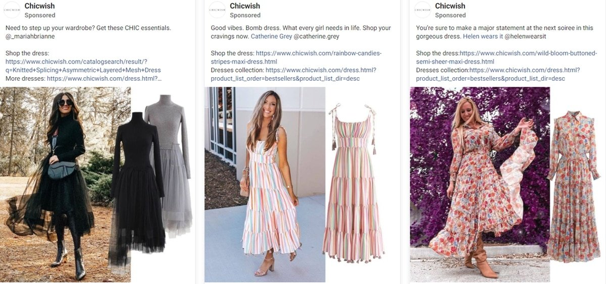 Chicwish Facebook ads targeting consumers in the United States
