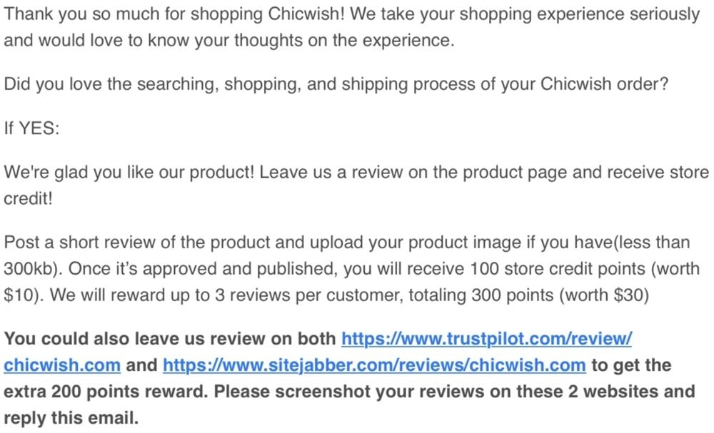 Email from Chicwish asking customers to leave positive reviews on Sitejabber and Trustpilot