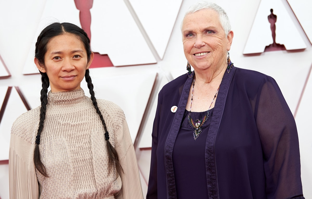 Director Chloe Zhao and actress Charlene Swankie arrive at the Oscars