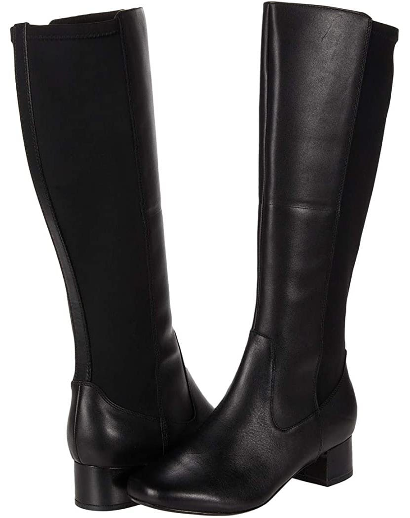 Black leather boots with short block heels are comfy and chic enough for workwear