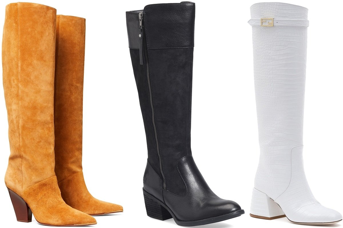 Three classic knee-high boots from Tory Burch, Børn, and Fendi