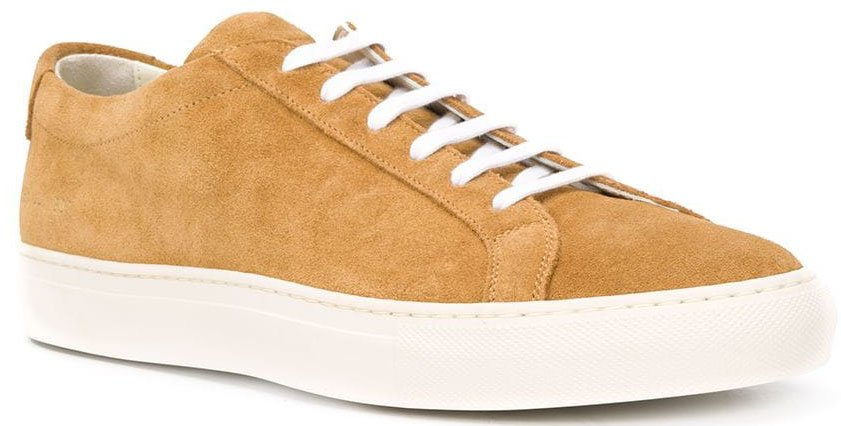 Common Projects' Achilles shoes feature a classic low-top silhouette with a tan suede upper