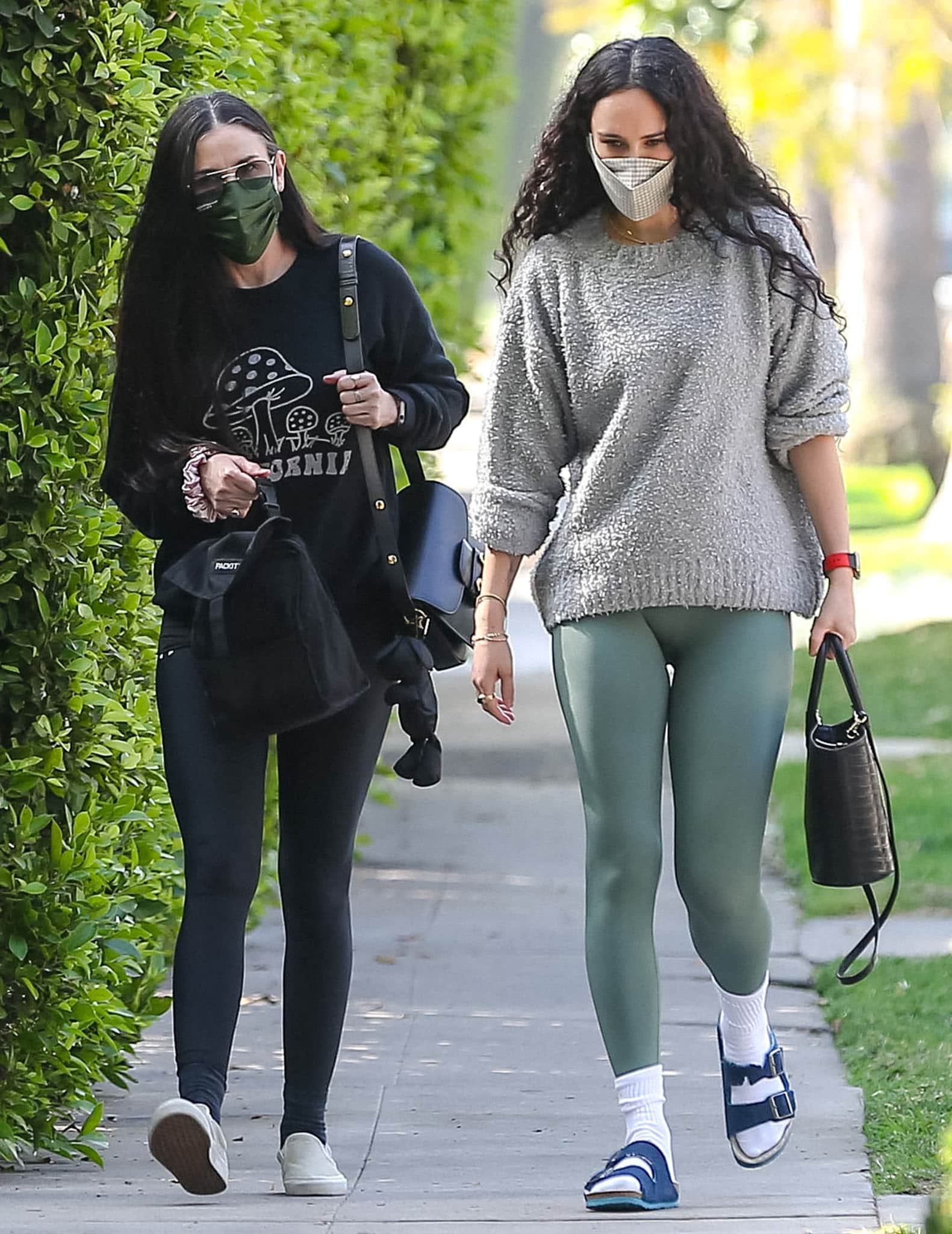 Demi Moore and daughter Rumer Willis heading to a private Pilates class at Forma Pilates in West Hollywood on April 5, 2021