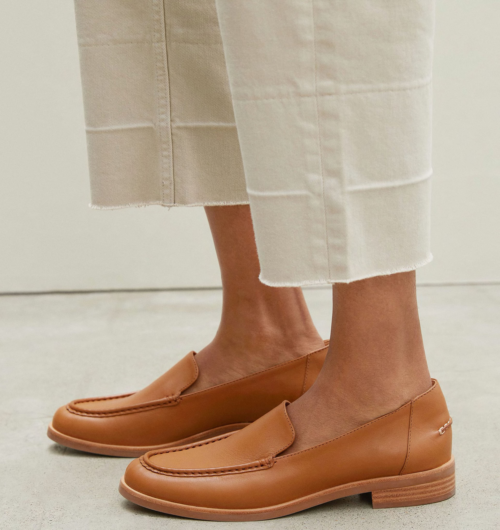 Made from buttery soft leather, Everlane's the Modern loafers feature tapered toes, stitch details, and 1-inch thick stacked heels