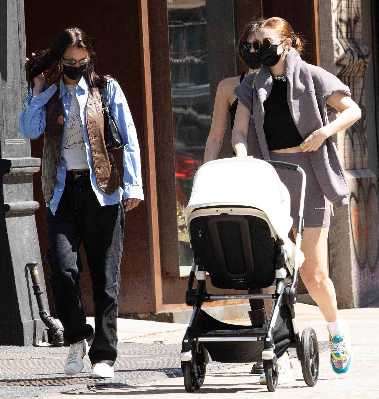 Gigi Hadid and Bella Hadid take baby Khai out in New York City on April 8, 2021
