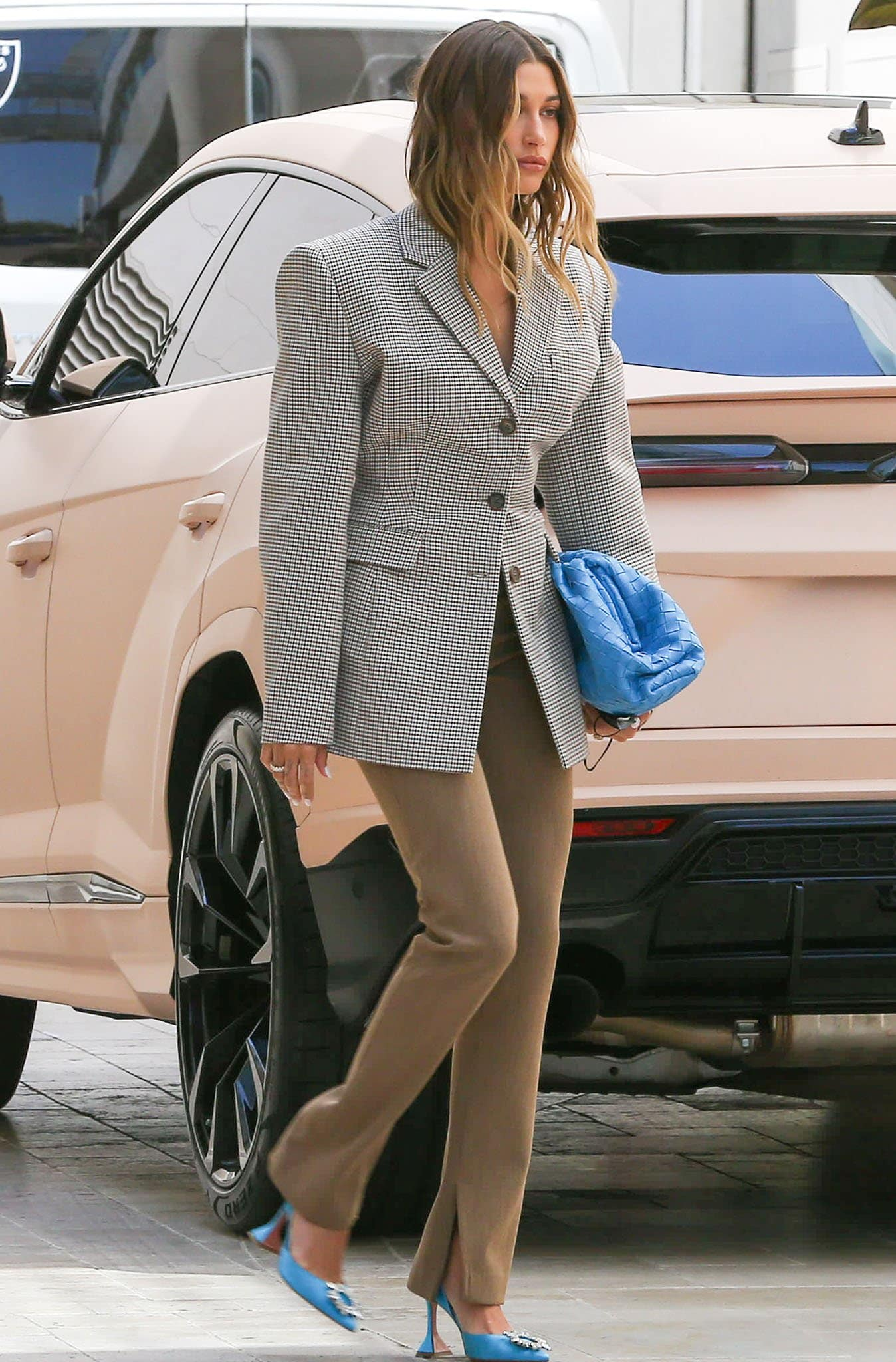 Hailey Bieber leaving a business meeting in Los Angeles on April 20, 2021