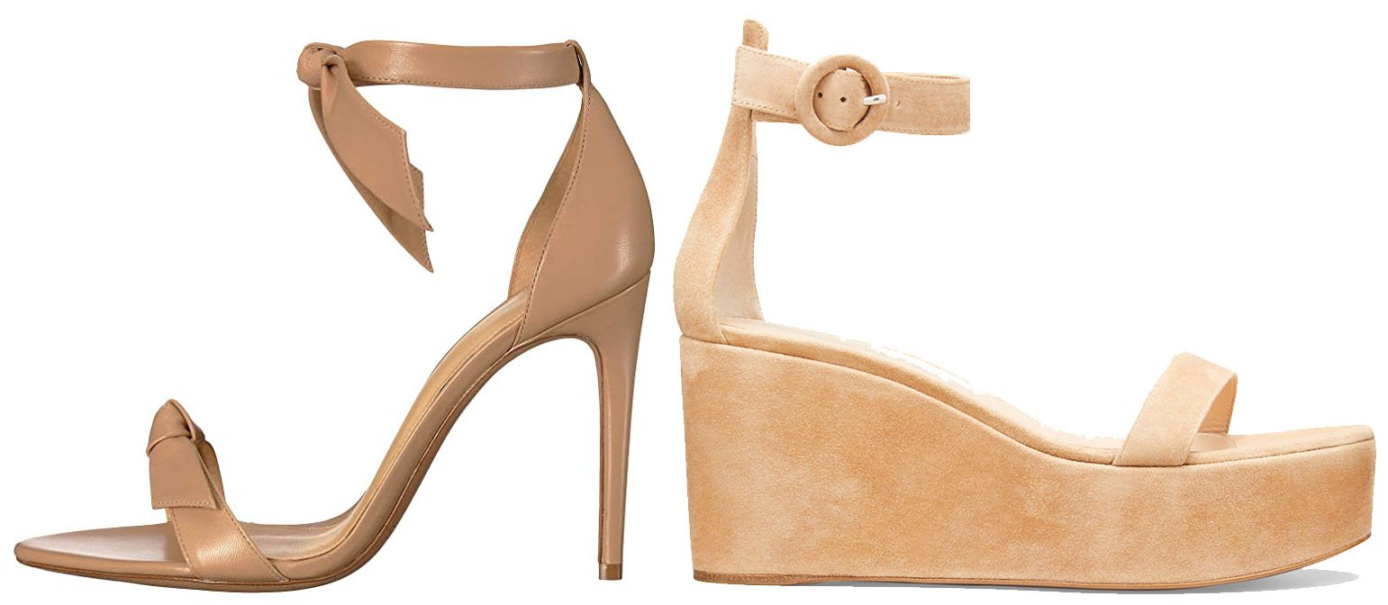 Wedges have continuous, solid outsoles that are elevated at the back, while heels have the elevated back part separated from the sole underneath the toes