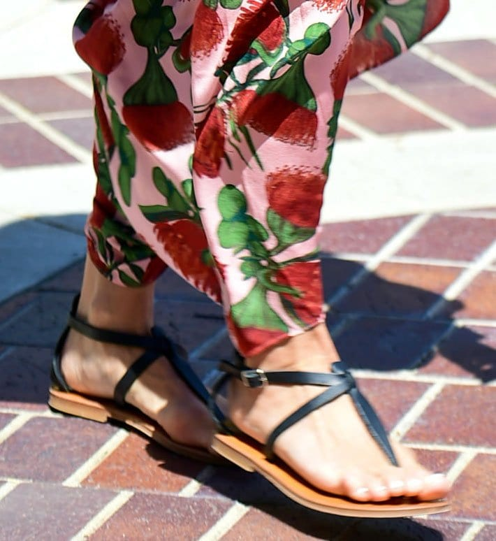 Heidi Klum completes her spring look with K.Jacques St. Tropez Cedre sandals