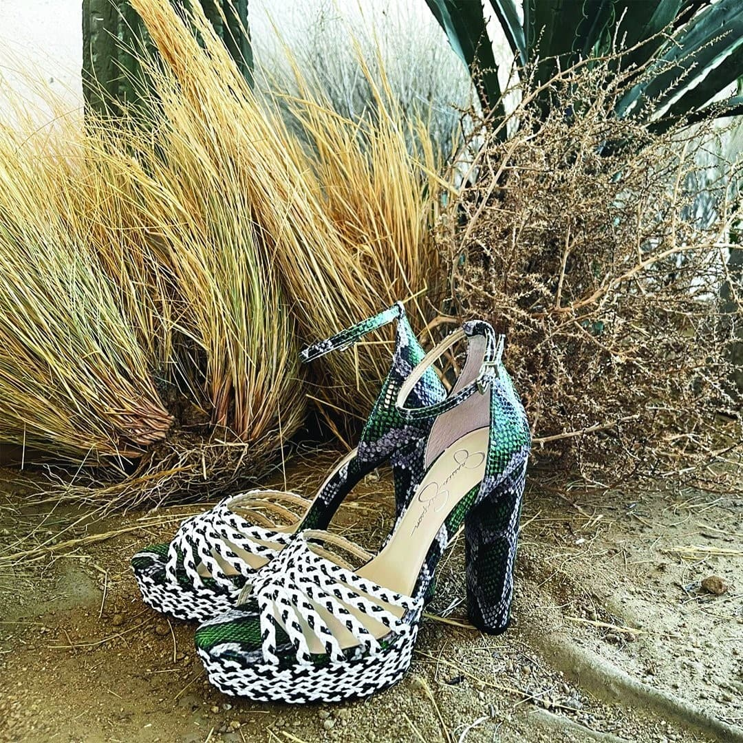 Snake print platform sandal from Jessica Simpson featuring two-tone woven upper and platform