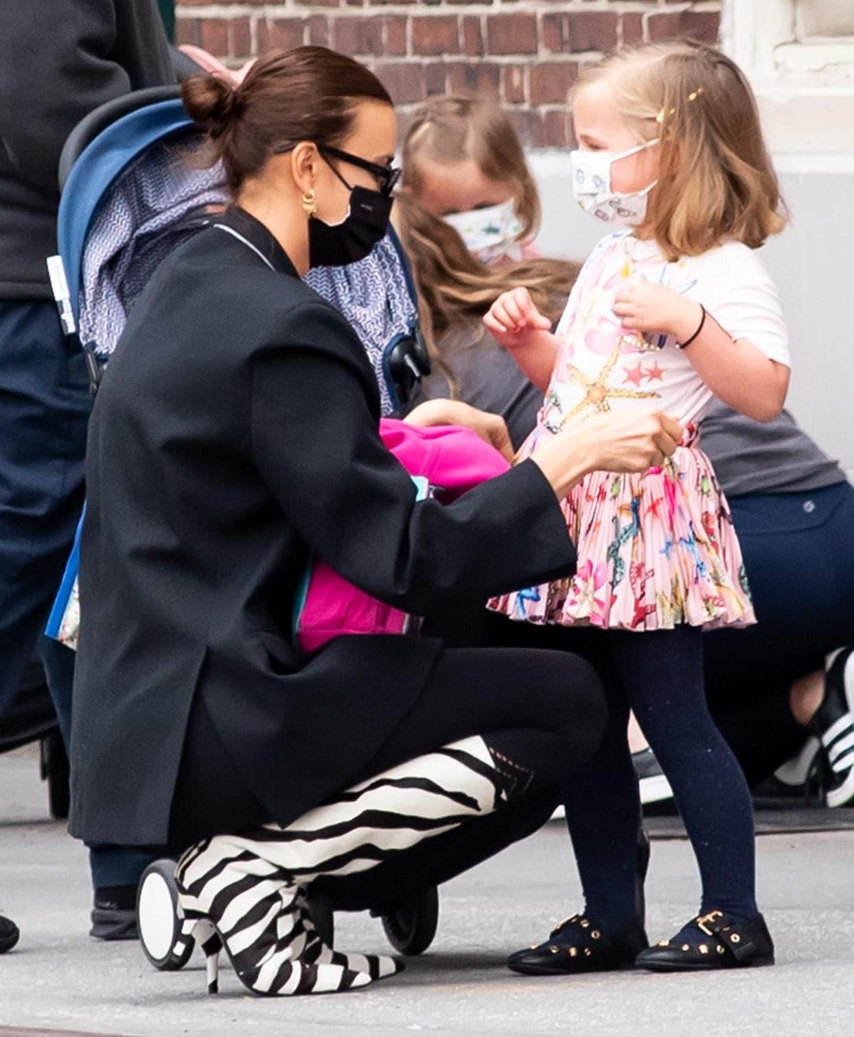 Irina Shayk picks up her daughter, Lea de Seine, from school in New York City on April 14, 2021