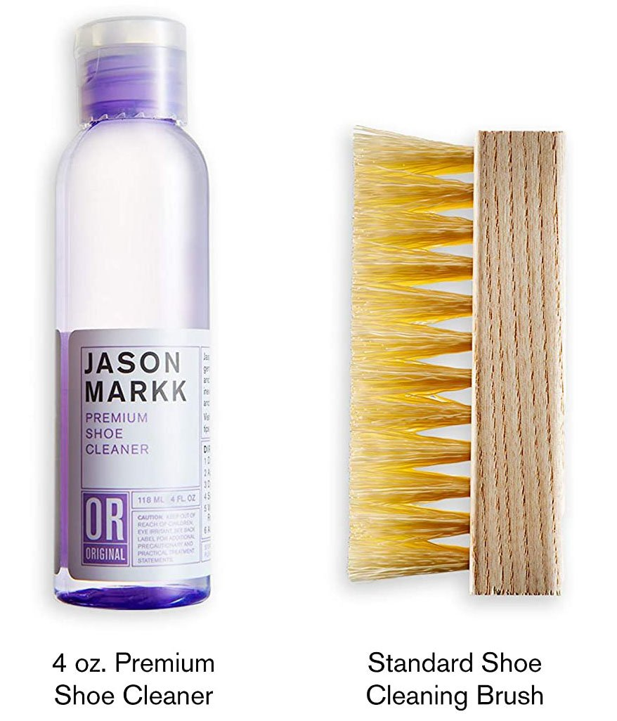 Jason Markk Premium Shoe Cleaner effectively cleans and conditions and does not contain any harsh chemicals and abrasives
