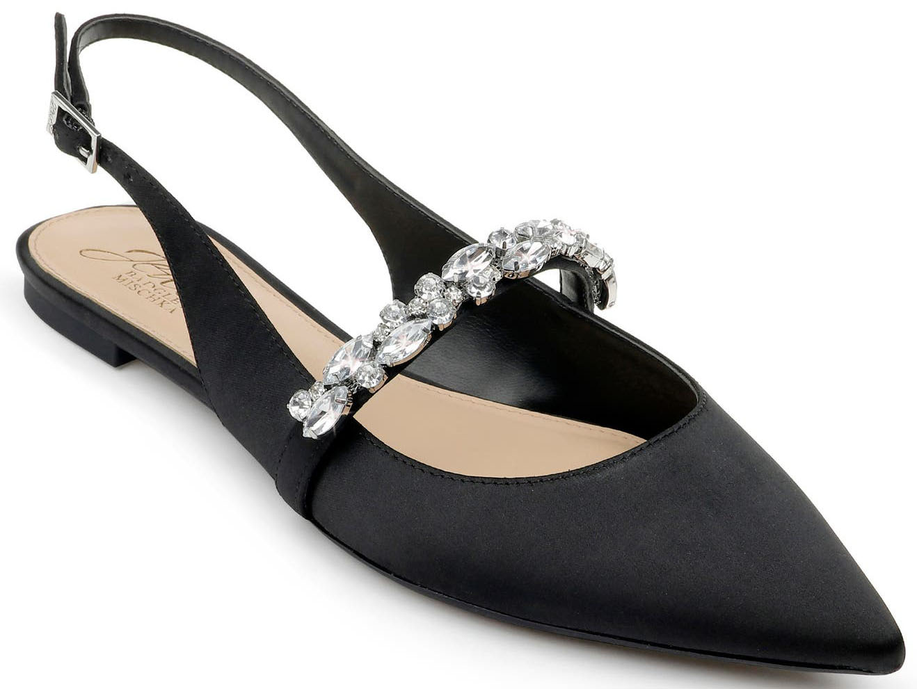 Affordable but classy, the Jewelry Badgley Mischka Bambi has a slingback strap and crystals along the arch strap