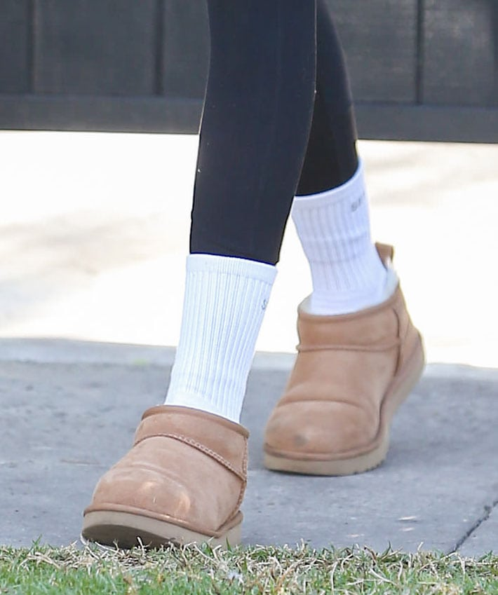 Kaia Gerber finishes her Pilates class look with cozy UGG Classic Ultra Mini boots