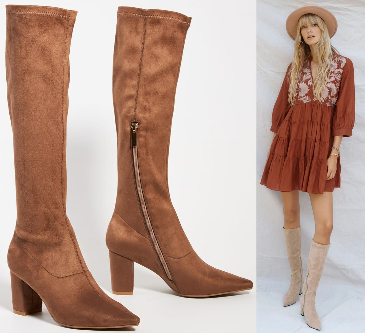 These vegan suede knee-high boots pair perfectly with slim-fit denim or statement-making skirts for an effortless ensemble any time of year