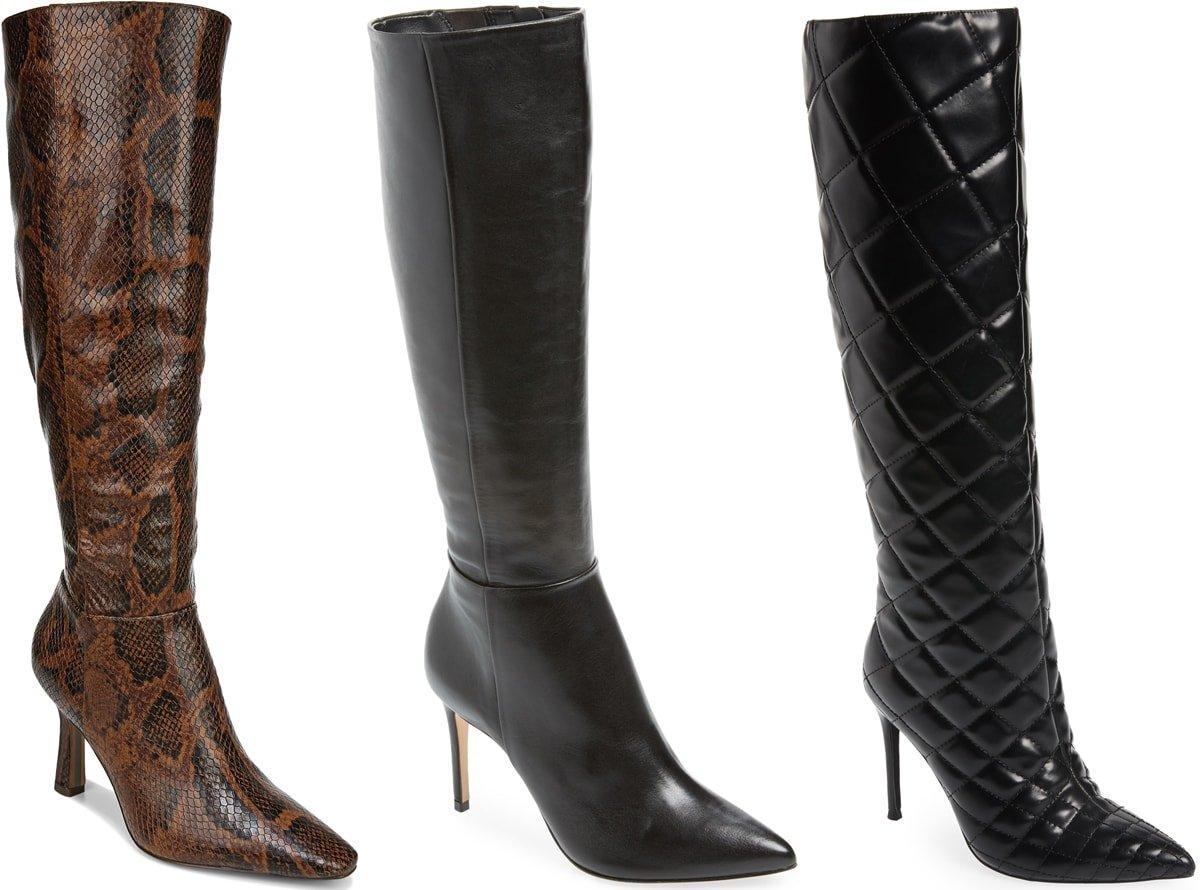 Three knee-high stiletto boots from Sam Edelman, Schutz, and Jeffrey Campbell