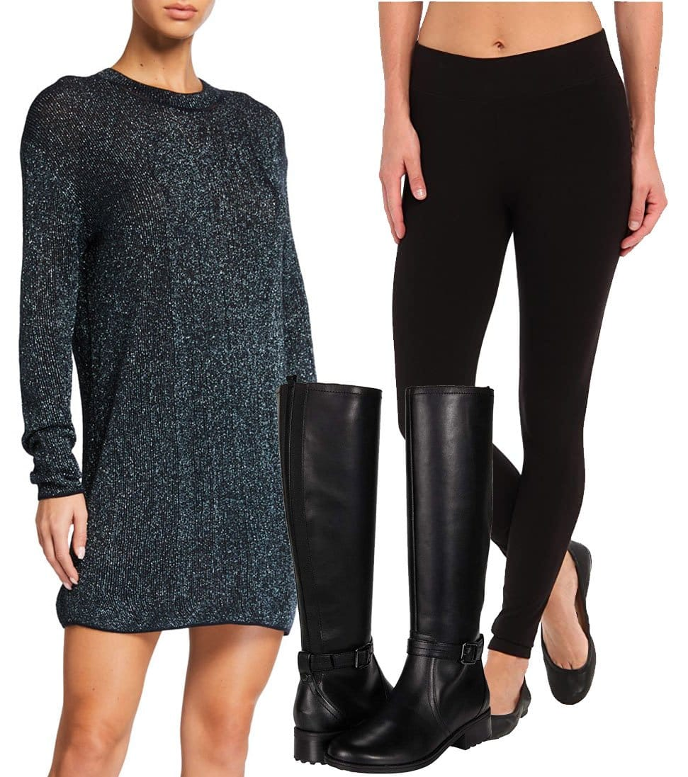 Rag & Bone Cherie Mini Sweater Dress, HUE Ultra Leggings, Easy Spirit Reverie Knee-High Boots