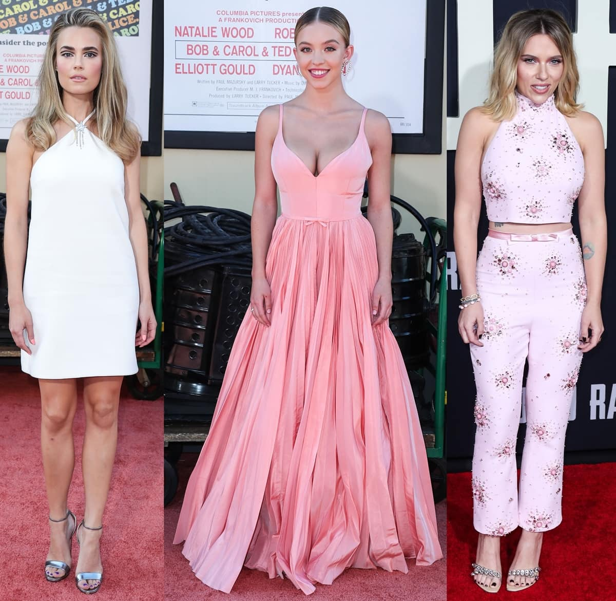 Rebecca Rittenhouse, Sydney Sweeney, and Scarlett Johansson wearing Miu Miu outfits
