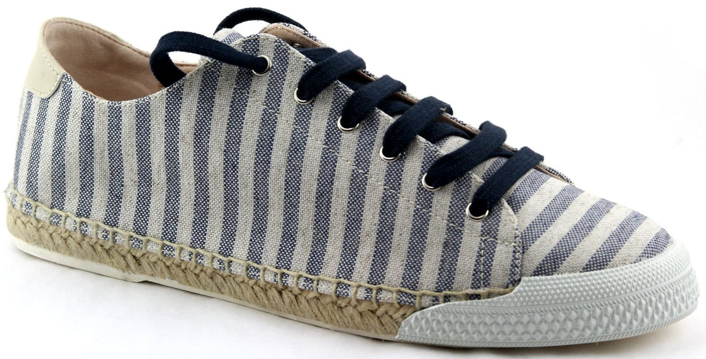 The Amanda features a recycled polyester upper in navy-and-white stripes with natural jute and recycled rubber soles
