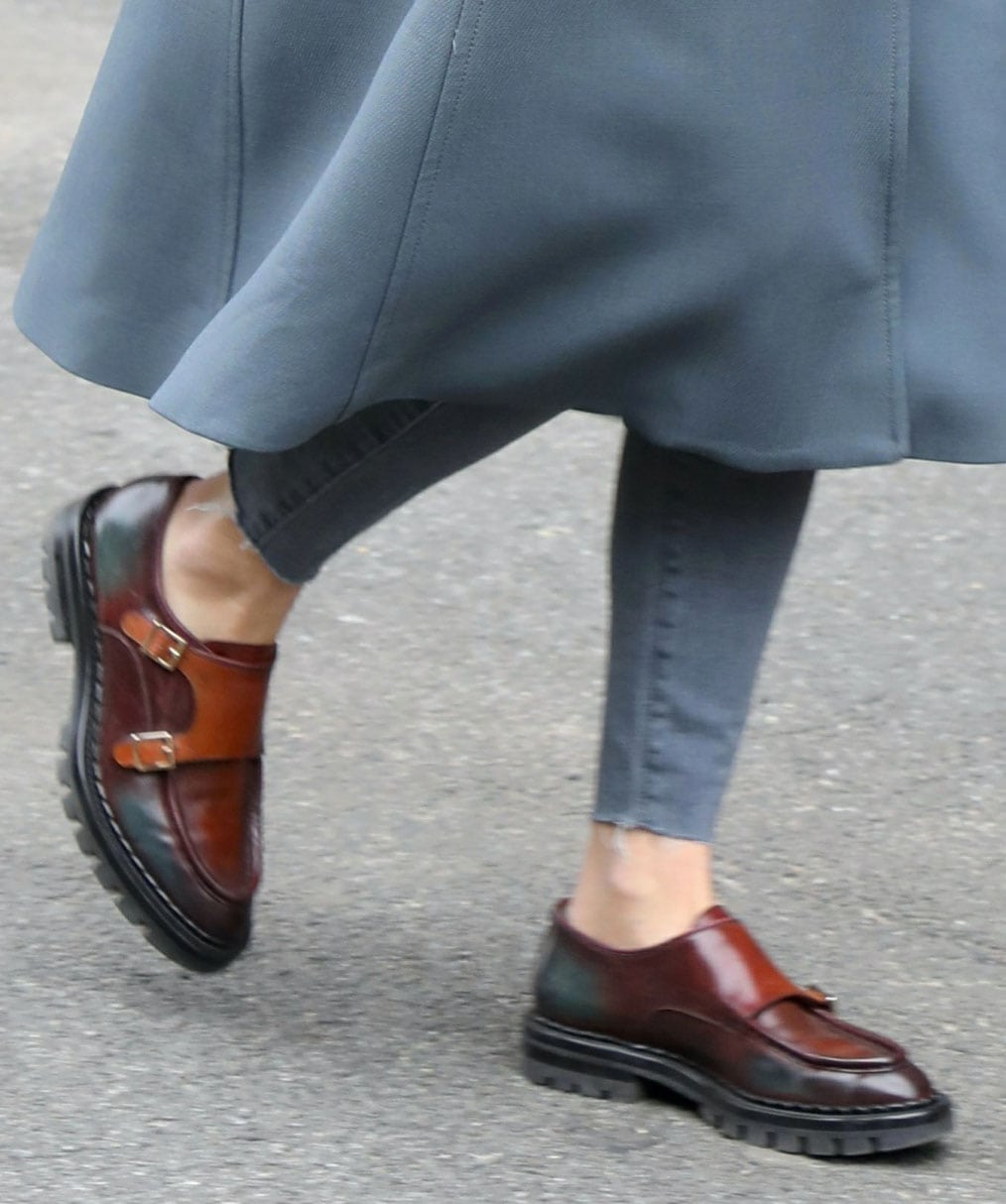 Olivia Palermo pairs her military-chic coat with Santoni monk-strap lugged loafers