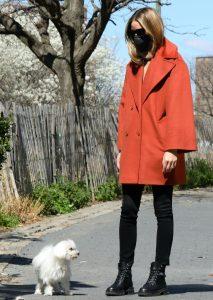 How Olivia Palermo Wears Orange Coat With Combat Boots