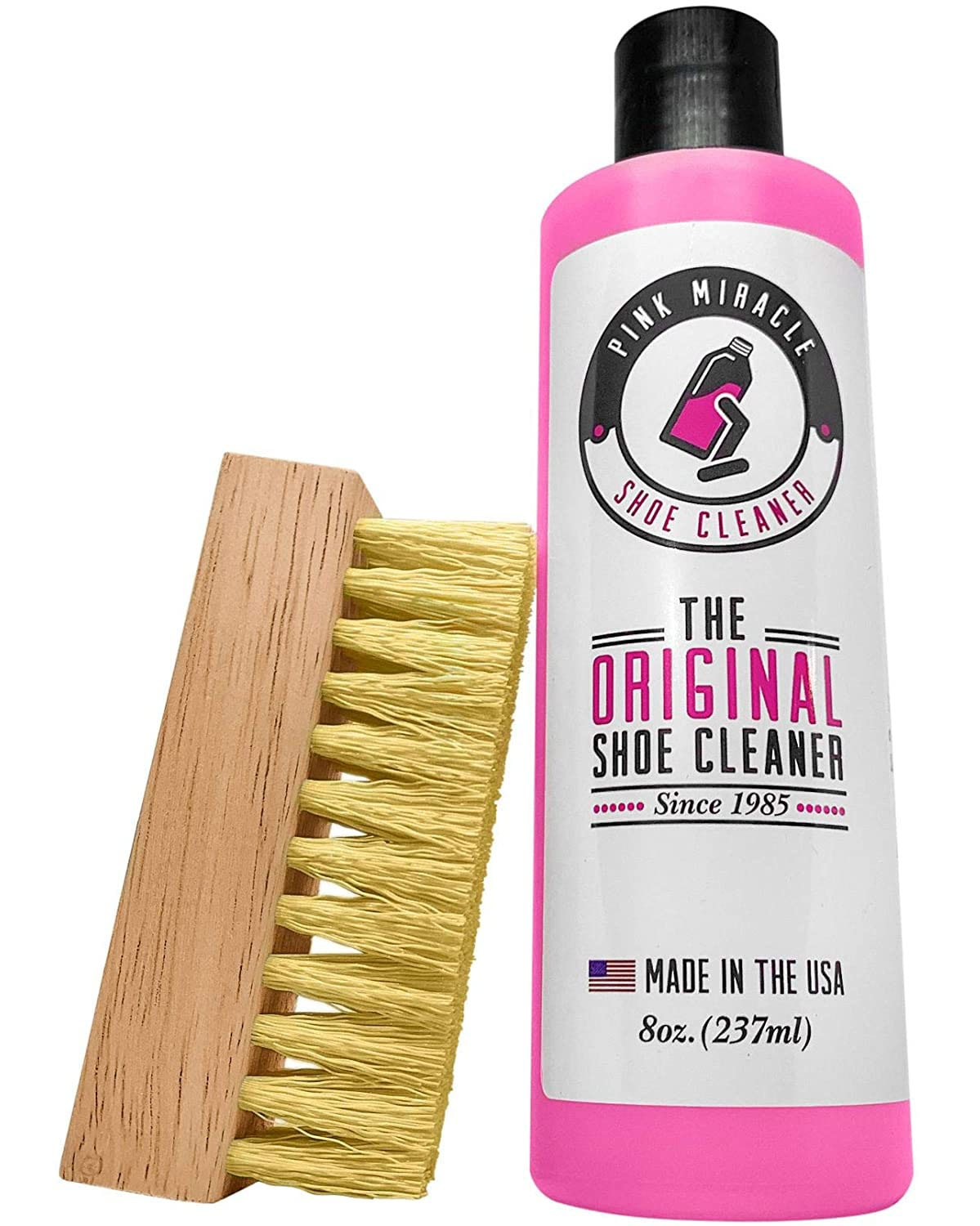 The Pink Miracle shoe cleaner is a safe concentrate all-in-one shoe cleaner and conditioner that contains saddle soap, gentle oils, and conditioners