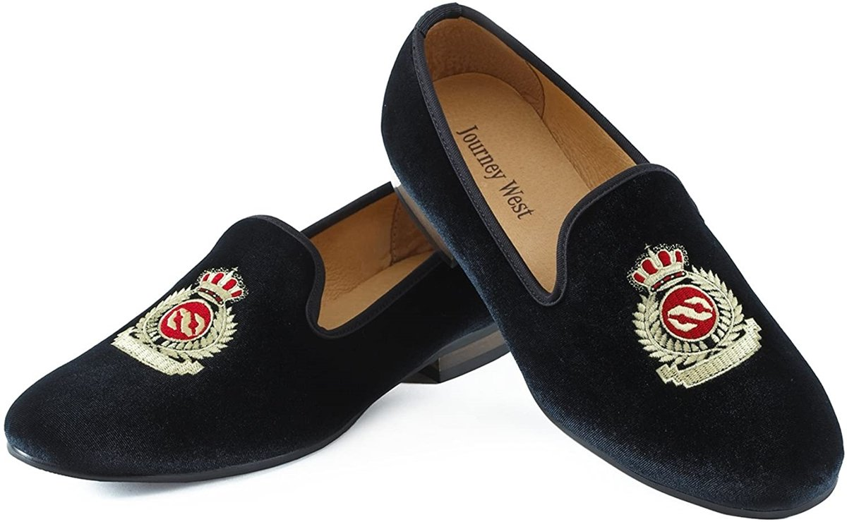 Prince Albert slippers are defined by velvet uppers and an embroidered design on the vamp