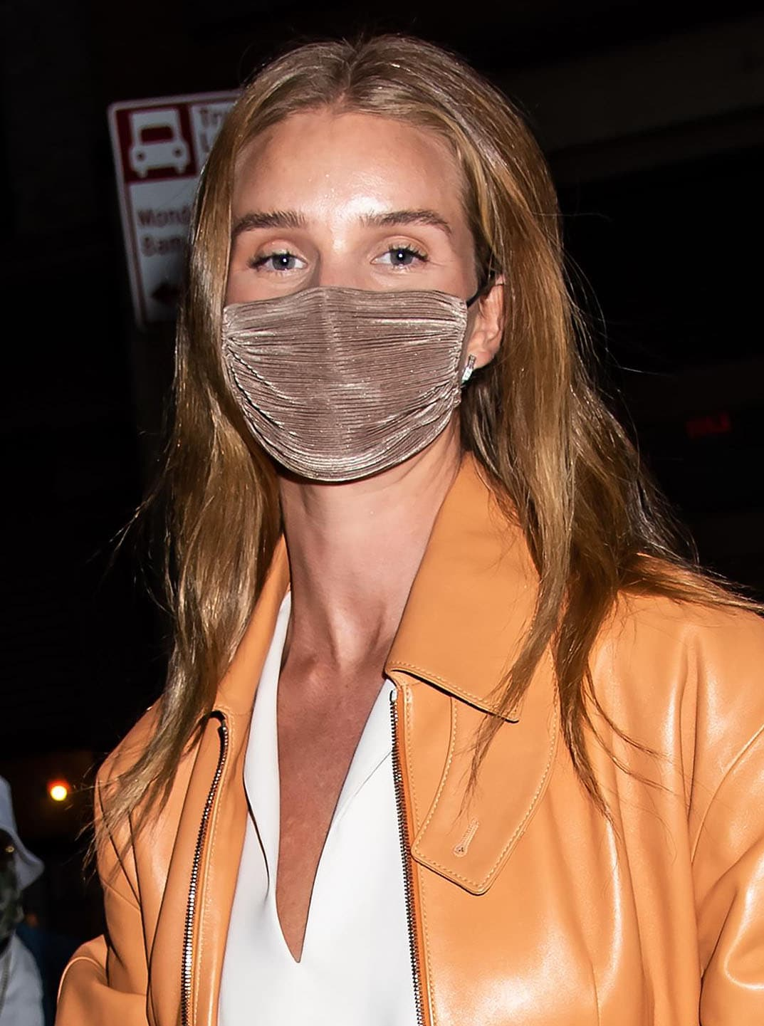 Rosie Huntington-Whiteley wears light makeup with mascara and brushed up brows