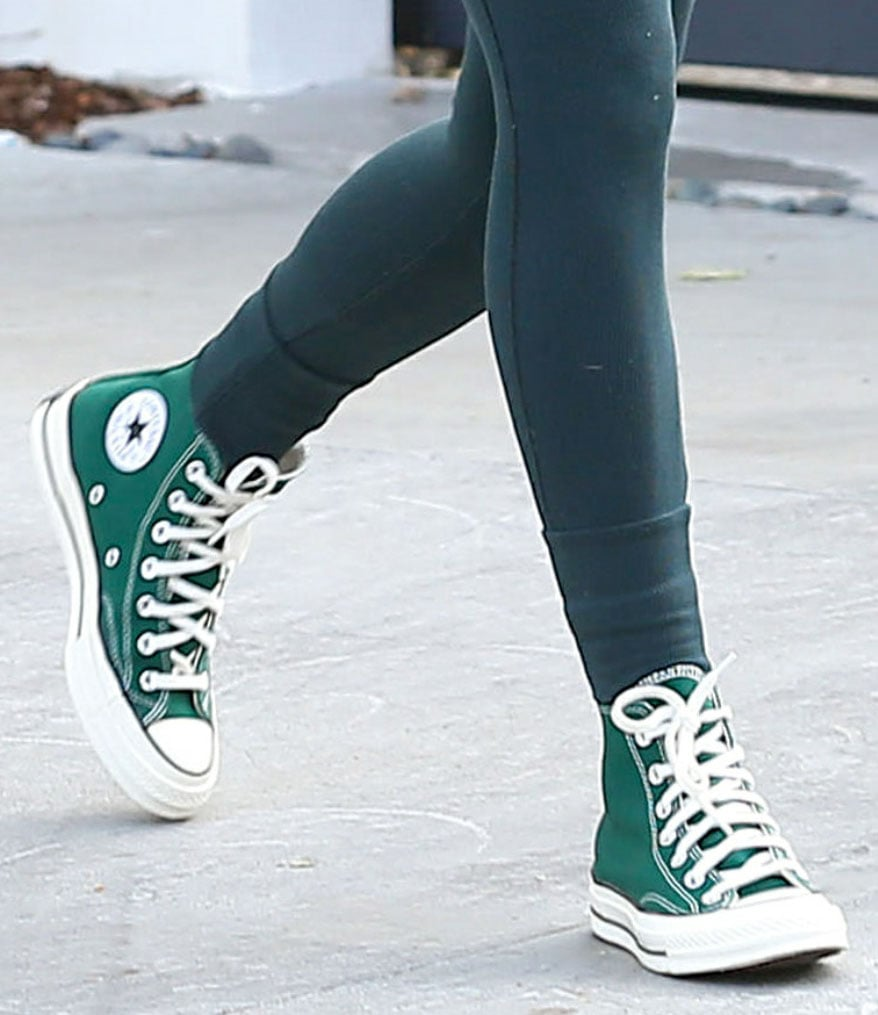 Rumer Willis continues her green themed outfit with Converse Colors Chuck Taylors in Amazon Green