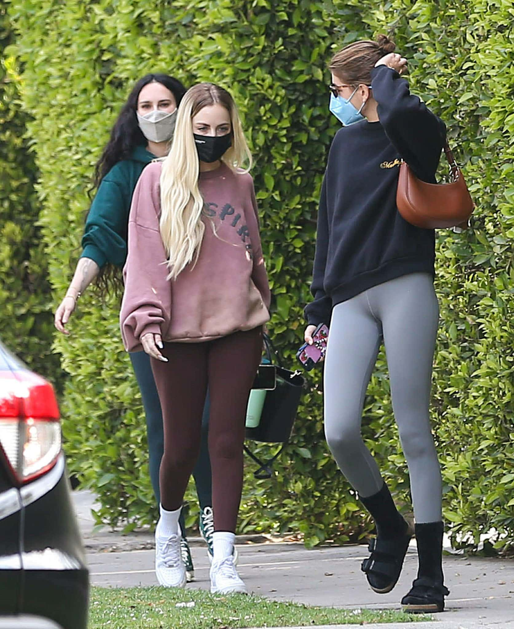 Rumer Willis, a female friend, and Kaia Gerber go to Pilates class together on April 6, 2021