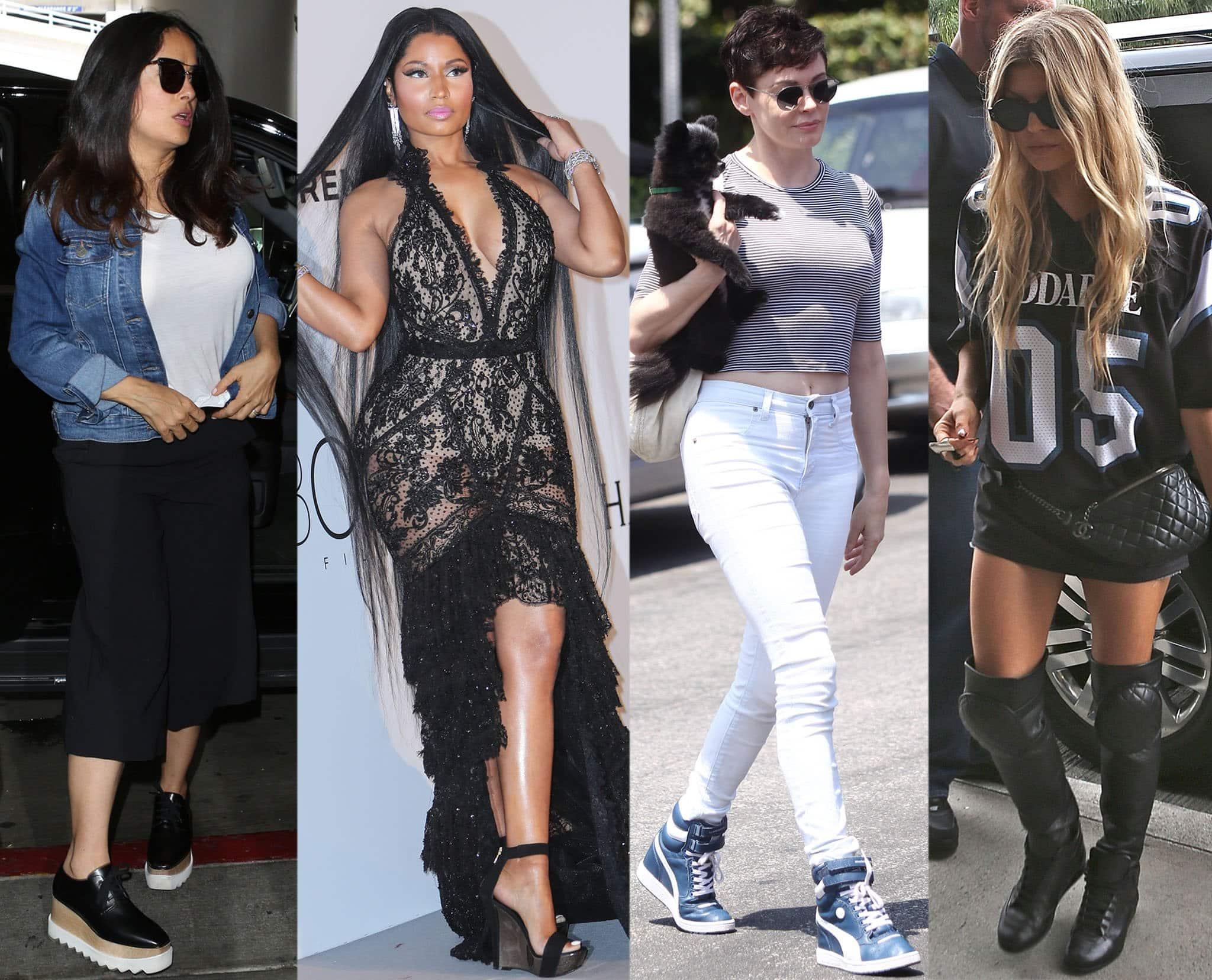 Salma Hayek, Nicki Minaj, Rose McGowan, and Fergie add a few inches with comfy wedges