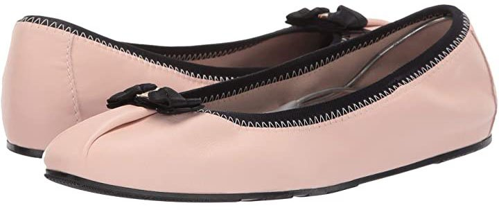 The Joy ballet flat in Bon Bon Nappa Guanto from Salvatore Ferragamo features an ultra-feminine look with a grosgrain bow accent