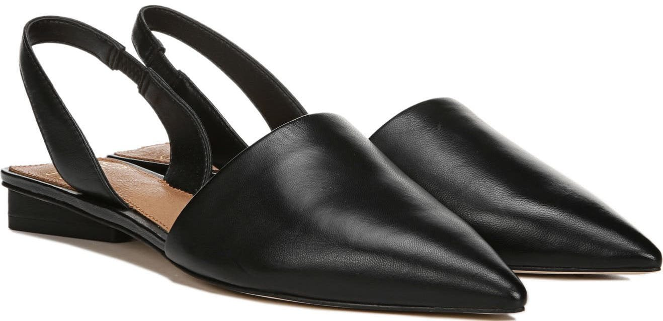 Sleek and chic, the Sarto by Franco Sarto flat can elevate any outfit with its pointed toes, slingback strap, and triangular heel