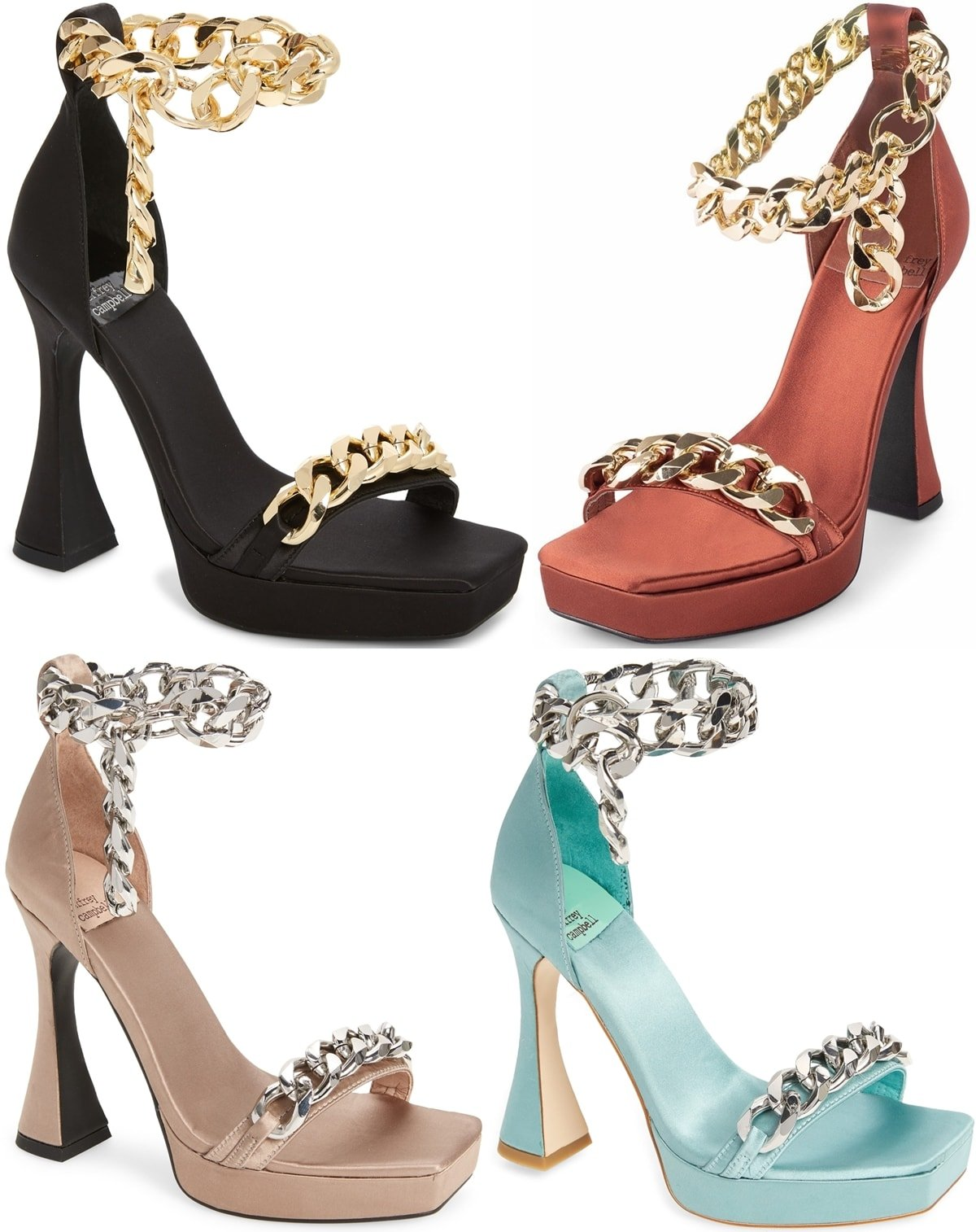Gleaming chain links add modern glamour to a standout satin sandal set on a lofty flared heel